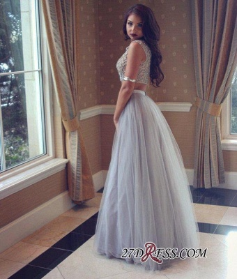 Long Tulle Beadings Two-Pieces Beautiful Prom Dress UK_2