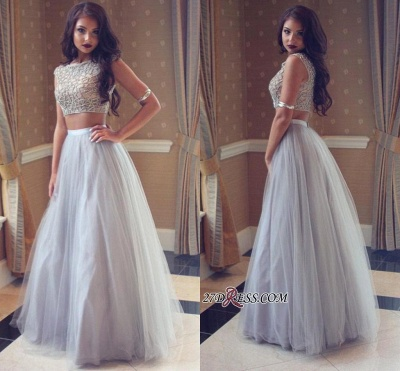 Long Tulle Beadings Two-Pieces Beautiful Prom Dress UK_1