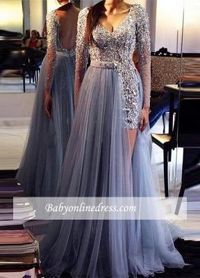 Tulle Beadings Long-Sleeve Prom Dress UK | Evening Formal Dress UK BA9359_2