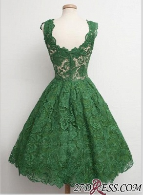 Straps A-line Lace Sleeveless Newest Green Homecoming Dress UK_1