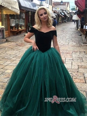 Off-The-Shoulder Gorgeous Tulle Ball Gown Long Prom Dress UKes UK_3
