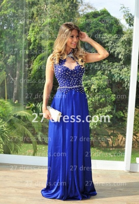 Chiffon Royal Blue Prom Dress UKes UK New Arrival Gowns for Evenings High Collar Sheer Sexy Back Lace Pearls Long Vestido Long_4