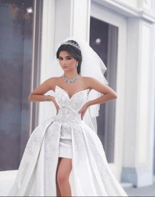 Delicate Sweetheart Beadss Wedding Dresses UK Hi-Lo Bridal Wear_3