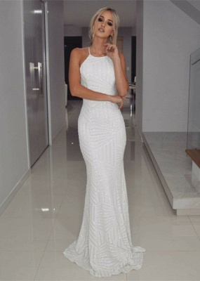 Halter White Sequins Prom Dress UK | Mermaid Long Evening Gowns_1