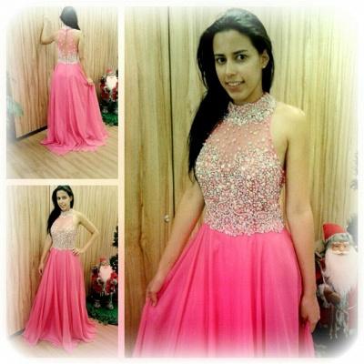 Luxury Crystals Chiffon A-line Prom Dress UK High Neck Zipper Sleeveless AP0_5