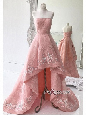 Hi-Lo Exquisite Embroidery Lace A-Line Strapless Prom Dress UKes UK_1