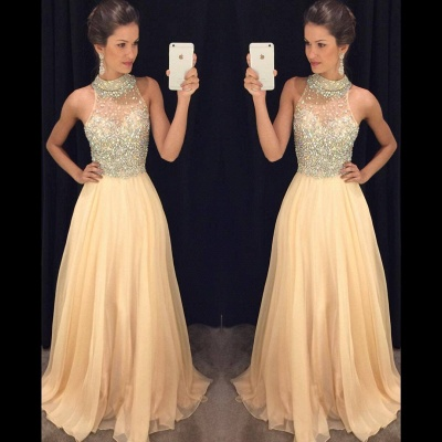 Luxury Crystals Chiffon A-line Prom Dress UK High Neck Zipper Sleeveless AP0_4