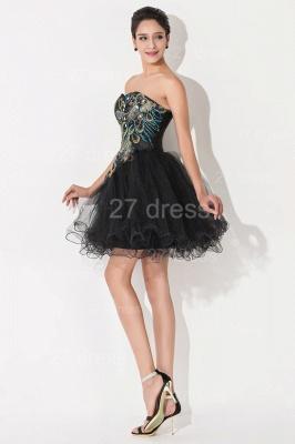 Elegant Black Sweetheart Short Tulle Homecoming Dress UK Peacock Design_6