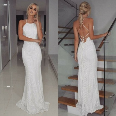 Halter White Sequins Prom Dress UK | Mermaid Long Evening Gowns_5