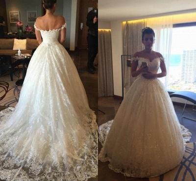 Elegant Princess Sequined Tulle Wedding Dress Lace Appliques Off-the-shoulder JT120_3