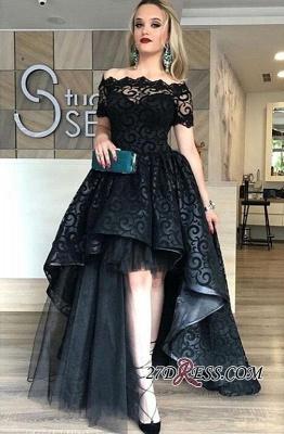 Black Short-Sleeve Elegant Lace Hi-Lo Prom Dress UK_4