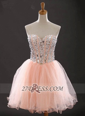 Gorgeous Sweetheart Sleeveless Short Homecoming Dress UK With Crystals Lace-up BA6890_1