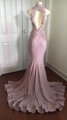 Modest High Neck Lace Appliques Prom Dress UK   Front Split Prom Dress UK_4