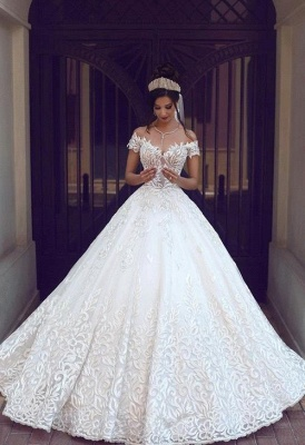 Chic Off-the-shoulder Short Sleeve Wedding Dress Lace On Sale_3