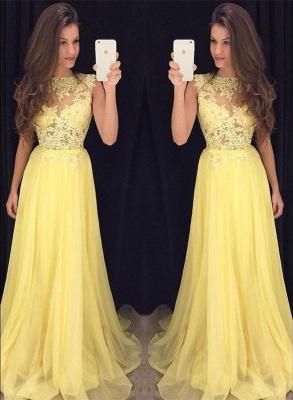 Sexy Yellow Lace Evening Dress UK Long Chiffon Lace Appliques AP0_1
