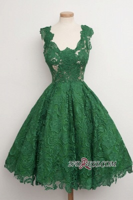 Straps A-line Lace Sleeveless Newest Green Homecoming Dress UK_3