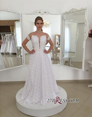 Bow A-line Short-Sleeve White Pearls Elegant Long Lace Wedding Dress_3