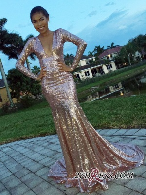 Gorgeous Long-Sleeve Mermaid Sequins V-Neck Evening Dress UK BA8288_2