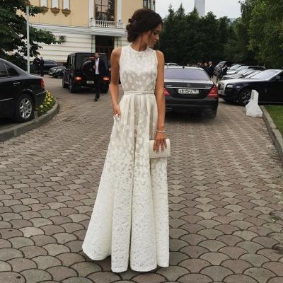 Luxury White Sleeveless Lace Floor Length BA3619_3