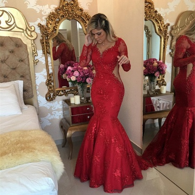 Sexy Long Sleeve Red Evening Dress UK Lace Beads Mermaid Party Dress UK BMT_3