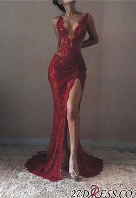 Mermaid V-neck Sleeveless Front-Split Lace Elegant Prom Dress UK BA6811_3