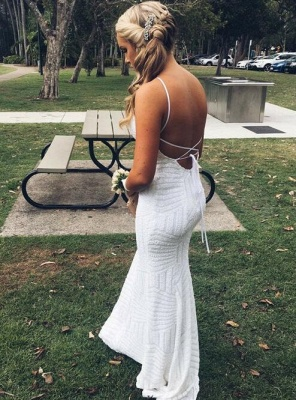 Halter White Sequins Prom Dress UK | Mermaid Long Evening Gowns_3