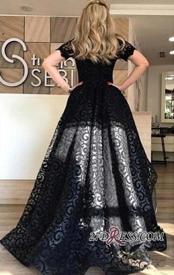 Black Short-Sleeve Elegant Lace Hi-Lo Prom Dress UK_3