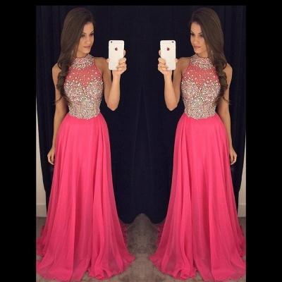 Luxury Crystals Chiffon A-line Prom Dress UK High Neck Zipper Sleeveless AP0_3