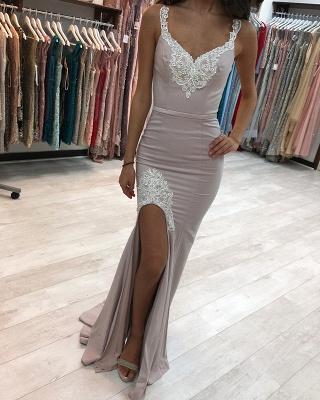 Sexy V-Neck Strap Lace Prom Dress UK Long Party Dress UK With Split_1