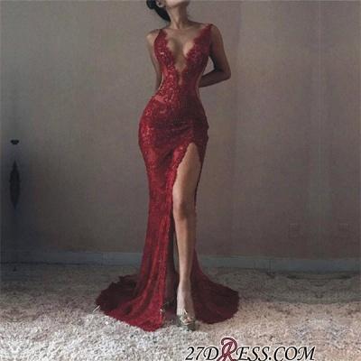 Mermaid V-neck Sleeveless Front-Split Lace Elegant Prom Dress UK BA6811_2