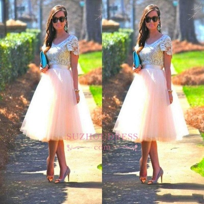 Lace Tulle Short-Sleeves A-Line Tea-Length Homecoming Dress UK_1