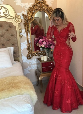 Sexy Long Sleeve Red Evening Dress UK Lace Beads Mermaid Party Dress UK BMT_1