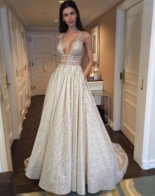 Elegant V-Neck Sleeveless Prom Dress UK Long Sequins BA3399_3