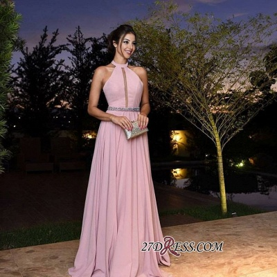 Halter Pink Simple A-Line Chiffon Crystal Prom Dress UKes UK_2