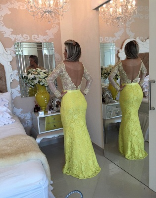 Stunning Yellow Long Sleeve Evening Dress UK Lace Mermaid Prom Gown_3
