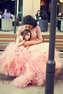 Long Sleeve Pink Lace Mermaid Wedding Dress With Ruffles Mother and Daughter Dress_1