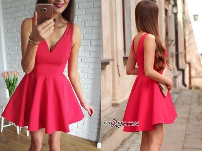 Sleeveless A-line Red Short Simple Straps Homecoming Dress UK_2