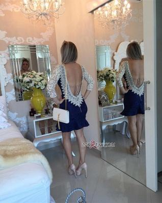 Pearls V-neck Bodycon Elegant Lace Mini Backless Short Homecoming Dress UK_2