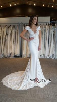 Elegant Cap Sleeve Sexy Mermaid V-Neck Lace Applique Wedding Dresses UK Online_1