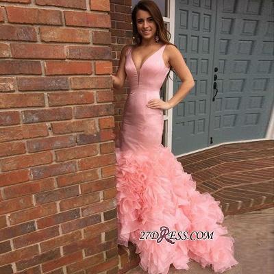 Elegant Long Pink Mermaid Sleeveless Tiered Evening Dress UKes UK_2