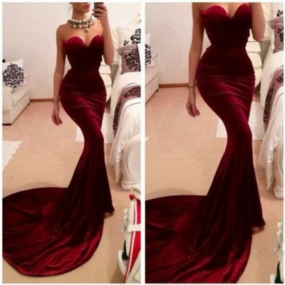 New Arrival Red Sweetheart Prom Dress UKes UK Elegant Memmaid Evening Gowns_2