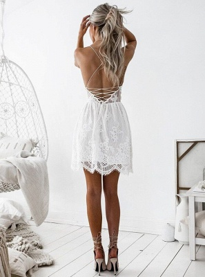 Cute White Spaghetti Strap Sleeveless Homecoming Dress UK | Short Party Gown_3