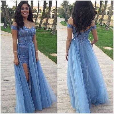 Gorgeous Off-the-Shoulder Long Prom Dress UK Tulle Zipper Back_3