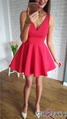 Sleeveless A-line Red Short Simple Straps Homecoming Dress UK_5
