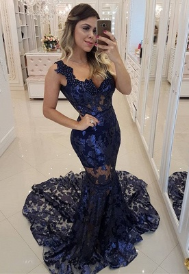 Modern Beading Lace Mermaid Straps Evening Dress UK | Dark Navy Party Gown_1