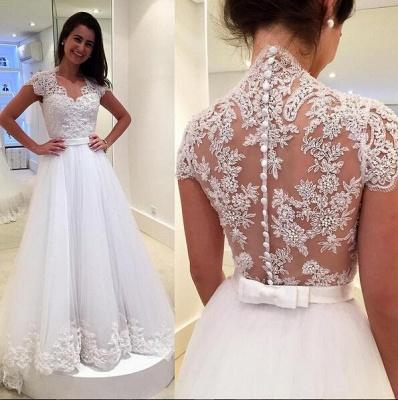 Dreamy Cap Sleeve Lace Wedding Dress Zipper Button Back Bridal Gowns_3