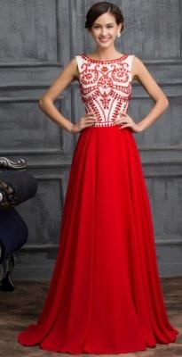 Elegant Red Sleeveless Long Chiffon Prom Dress UK With Crystals_1
