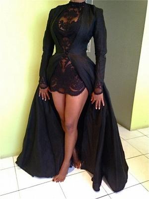 Elegant Black High Neck Detachable Evening Dress UK Long Sleeve_3