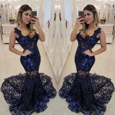 Modern Beading Lace Mermaid Straps Evening Dress UK | Dark Navy Party Gown_3