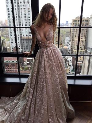 Elegant V-Neck Sleeveless Prom Dress UK Long Sequins BA3399_1